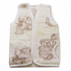 TEDDY BEAR Childrens Merino Wool Vest Natural BABY Junior Body Warmer Vest Waistcoat