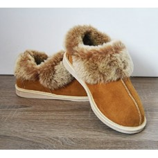 Quality & Natural  , Warm Cozy Leather ORGINAL Wool Sheepskin Fur Slippers