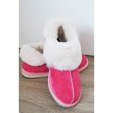 Natural Warm Cozy Leather ORGINAL Wool Sheepskin Fur Slippers Pink