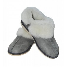 Natural Warm Cozy Leather ORGINAL Wool Sheepskin Fur Slippers Grey 1