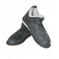 Grey Natural Warm Cozy Leather ORGINAL Wool Sheepskin Fur Slippers