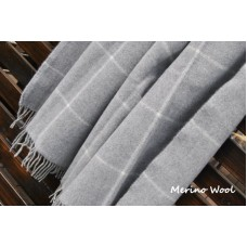 Natural Merino Wool Blanket / Wool Bed Throw Double Size  160 x 200 cm light grey