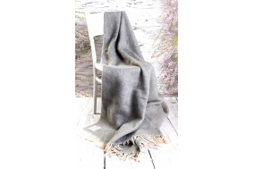 Merino Wool Blanket Tartan Rug Grey Wool Throw  Double Bed size 160/200cm