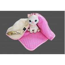 PINK Merino Wool Blanket Cashmere & Bubble Velboa