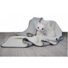 Merino Wool Baby Blanket  / Cot Bed blanket , Duvet  Pram Blanket made with Cashmere & Bubble Velboa