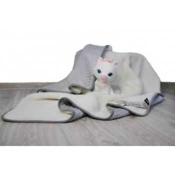 Merino Wool Baby Blanket  / Cot Bed blanket , Duvet  Pram Blanket made with Cashmere & Bubble Velboa