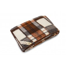 Natural Merino Wool Blanket Bed Throw , Bed Cover Sofa Pad Brown CHECKED