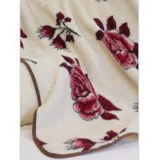Natural & Warm Merino Wool Blanket Bed Wool Throw , Bed Cover Sofa Pad RED ROSES