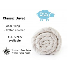 CLASSIC Merino Wool Duvet  Breathable Wool Quilt  8-10 tog  MEDIUM weight 500gsm - Natural Wool filled Medium Duvet Quilt / Anti-allergy  All Sizes