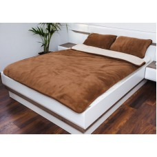 REVERSIBLE BEIGE & BROWN CAMEL WOOL DUVET