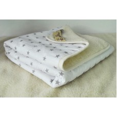 2 IN 1! White + Grey Stars Duvet WOOLAMRKED MERINO WOOL BLANKET