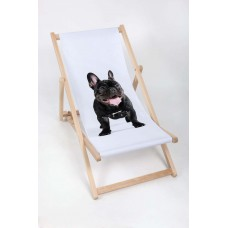 FRENCH BULLDOG Modern Sun Loungers Padded Wooden Garden Adirondack Chair PATIO SEASIDE Folding Hardwood Beach