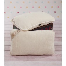 2 x QUALITY MERINO LAMBSWOOL PILLOW Woolmarked ,Natural  size:45/75cm