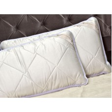 "Pack of 2 Classic Merino Wool Pillows 45 x 75 cm + Removable Cotton Zipped Cover 19"" x 29""  Hypoallergenic"