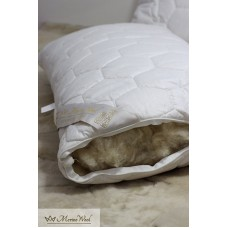 "1 x  Classic Merino Wool Pillow 45 x 75 cm + Removable Cotton Zipped Cover 19"" x 29""  Hypoallergenic"