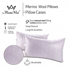 "Pack of 2 Classic Merino Wool Pillow 45 x 75 cm + Removable Cotton Zipped Cover 19"" x 29""  Hypoallergenic"