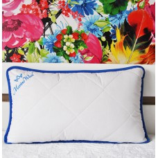 """Pack of 2 Blue Merino Wool Pillows 45 x 75 cm + Removable Cotton Zipped Cover 19"""" x 29""""  Hypoallergenic"""